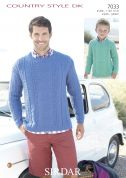 Sirdar Men & Boys Sweater Country Style Knitting Pattern 7033  DK