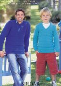 Sirdar Men & Boys Sweaters Wash n Wear Knitting Pattern 7036  DK