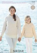 Sirdar Ladies & Girls Hoodies Snowflake Knitting Pattern 7049  Chunky