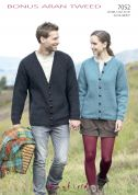 Hayfield Ladies & Mens Cardigans Bonus Knitting Pattern 7052  Aran