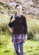 Hayfield Ladies Sweater Bonus Knitting Pattern 7060  Aran