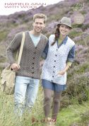 Hayfield Ladies & Mens Cardigan & Waistcoat With Wool Knitting Pattern 7064  Aran