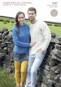 Hayfield Ladies & Mens Sweater & Hoodie With Wool Knitting Pattern 7067  Aran