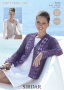 Sirdar Ladies Cardigan & Waistcoat Cotton Crochet Pattern 7072  DK