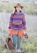Sirdar Ladies Sweater Knitting Pattern 7107  Super Chunky