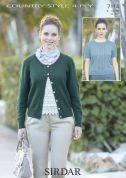 Sirdar Ladies Top & Cardigan Twin Set Country Style Knitting Pattern 7114  4 Ply