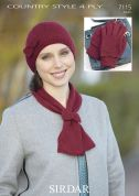 Sirdar Ladies Hat, Scarf & Gloves Country Style Knitting Pattern 7115  4 Ply