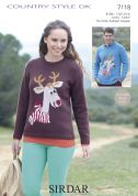 Sirdar Ladies & Mens Christmas Sweater Country Style Knitting Pattern 7118  DK