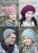 Hayfield Family Hats Bonus Knitting Pattern 7124  Aran
