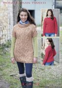 Hayfield Ladies Sweater & Tunic Top Bonus Knitting Pattern 7138  Aran
