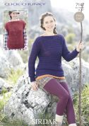 Sirdar Ladies Top & Sweater Click Knitting Pattern 7147  Chunky