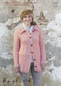 Hayfield Ladies Coat With Wool Knitting Pattern 7153  Chunky