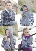 Sirdar Ladies & Girls Hooded Scarf & Mittens Freya Knitting Pattern 7155  Chunky