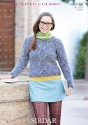 Sirdar Ladies Sweater Knitting Pattern 7160  Super Chunky