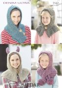 Sirdar Ladies & Girls Hooded Snoods & Scarves Denim Ultra Knitting Pattern 7167  Super Chunky