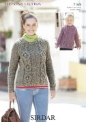 Sirdar Ladies & Girls Sweaters Denim Ultra Knitting Pattern 7169  Super Chunky