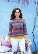 Sirdar Ladies Sweater Knitting Pattern 7170  Aran