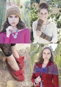 Sirdar Ladies Wrap, Hat, Slippers & Wrist Warmers Divine Knitting Pattern 7173  DK