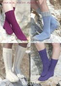 Sirdar Ladies Socks Wool Rich Knitting Pattern 7181  Aran