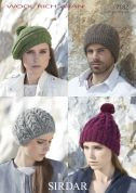 Sirdar Ladies & Mens Hats & Berets Wool Rich Knitting Pattern 7182  Aran