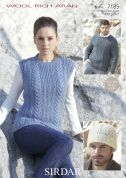 Sirdar Ladies & Mens Sweater, Tank Top & Hat Wool Rich Knitting Pattern 7185  Aran
