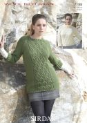 Sirdar Ladies Sweaters Wool Rich Knitting Pattern 7188  Aran