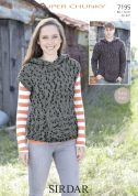 Sirdar Ladies & Mens Hooded Sweaters Husky Knitting Pattern 7195  Super Chunky