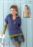 Hayfield Ladies Sweaters Ripple Knitting Pattern 7199  Super Chunky