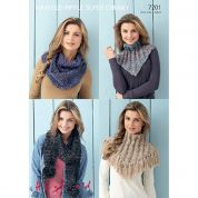 Hayfield Ladies Snoods Ripple Knitting Pattern 7201  Super Chunky