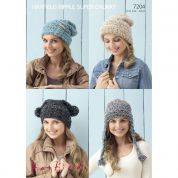Hayfield Ladies Hats Ripple Knitting Pattern 7204  Super Chunky