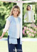 Sirdar Ladies Waistcoats Cotton Crochet Pattern 7218  DK