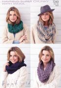 Hayfield Ladies Snoods With Wool Knitting Pattern 7243  Super Chunky