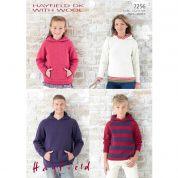 Hayfield Family Hoodies With Wool Knitting Pattern 7256  DK