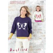 Hayfield Ladies & Girls Picture Sweaters With Wool Knitting Pattern 7258  DK