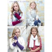 Sirdar Ladies & Girls Scarf, Mittens & Wrist Warmers Ophelia & Freya Knitting Pattern 7264  Chunky
