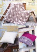 Sirdar Home Throw & Cushions Ophelia & Freya Knitting Pattern 7267  Chunky