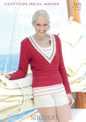 Sirdar Ladies Sweater & Tank Top Cotton Rich Knitting Pattern 7275  Aran