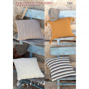 Hayfield Home Cushions With Wool Knitting Pattern 7304  Chunky