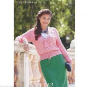 Sirdar Ladies Cardigan Cotton Knitting Pattern 7308  4 Ply