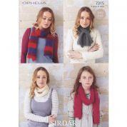Sirdar Ladies & Girls Scarves & Snoods Ophelia Knitting Pattern 7315  Chunky