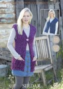Sirdar Lades Waistcoats Husky Knitting Pattern 7327  Super Chunky