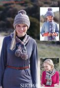 Sirdar Ladies Hat & Scarves Crofter Knitting Pattern 7335  DK