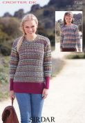 Sirdar Ladies & Girls Sweaters Crofter Knitting Pattern 7338  DK