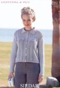 Sirdar Ladies Jacket Cotton Knitting Pattern 7362  4 Ply
