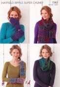 Hayfield Ladies Accessories Ripple Knitting Pattern 7363  Super Chunky
