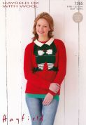Hayfield Ladies Christmas Sweater With Wool Knitting Pattern 7365  DK