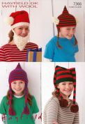 Hayfield Family Novelty Hats With Wool Knitting Pattern 7366  DK