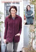 Hayfield Ladies Cardigans Bonus Knitting Pattern 7370  Aran