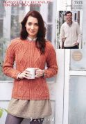 Hayfield Ladies & Mens Sweaters Bonus Knitting Pattern 7373  Aran