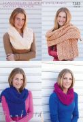 Hayfield Ladies Scarves & Snood With Wool Knitting Pattern 7383  Super Chunky